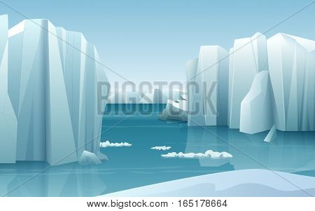 Cartoon realistic nature winter arctic ice landscape with iceberg and snow mountains hills