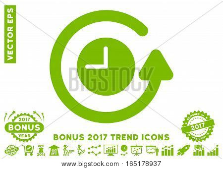 Eco Green Restore Clock pictogram with bonus 2017 trend pictograms. Vector illustration style is flat iconic symbols white background.