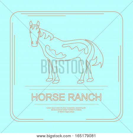 Logotype of horse ranch in modern thin line design. Perfect organic farm products banner or flyer. Vector illustration. eps 10