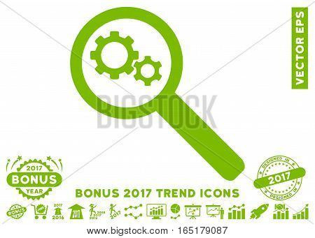 Eco Green Search Gears Tool icon with bonus 2017 year trend pictograms. Vector illustration style is flat iconic symbols white background.