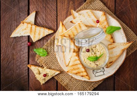 Pate Chicken - Rillette, Toast And Herbs On A Plate. Flat Lay. Top View