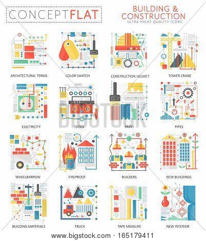 Infographics mini concept building construction tools icons for web. Premium quality color conceptual flat design web graphics icons elements. Building Construction tools concepts