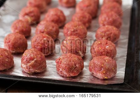 Raw Beef Meatballs Are Ready To Cook.