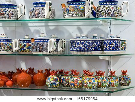 QUMRAN ISRAEL - JANUARY 06 2017: souvenir ceramic pottery for sale at gift store
