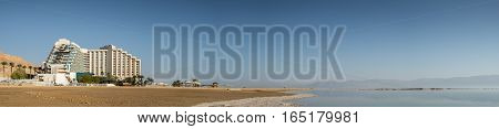 DEAD SEA ISRAEL - JANUARY 06 2017: The panramic view of hotels at Dead sea beach. Israel