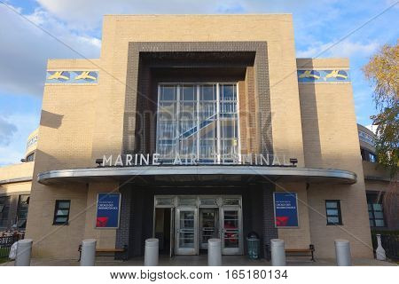 NEW YORK - NOVEMBER 27, 2016: Facade of the Historical Marine Air Terminal at La Guardia Airport in New York. It is an Art Deco building designed in 1939 by William Delano