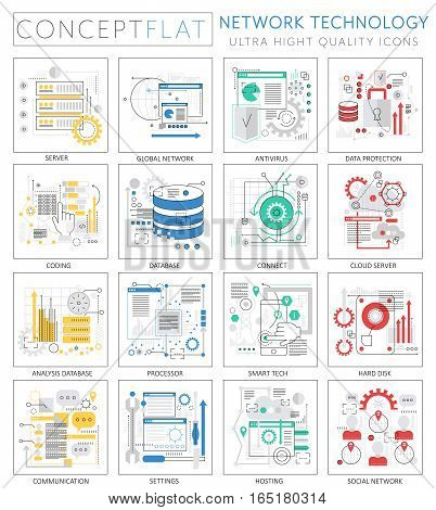 Infographics mini concept Network technology icons for web. Premium quality design web graphics icons elements. Network technology concepts