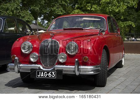 TURKU, FINLAND - JUNE 13, 2015: Jaguar Mk.-1 on the meeting of the club of owners of cars of mark