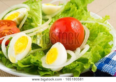 Cherries, Lettuce, Onions And Quail Eggs Close-up