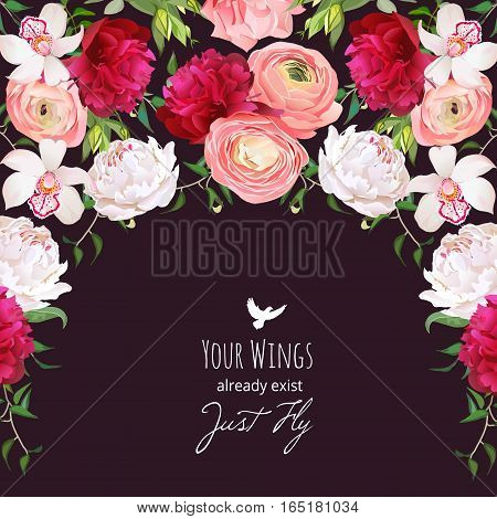 Spanish style semicircle garland frame arranged from burgundy red and white peony peachy ranunculus rose orchid. Floral vector design card with dark background.