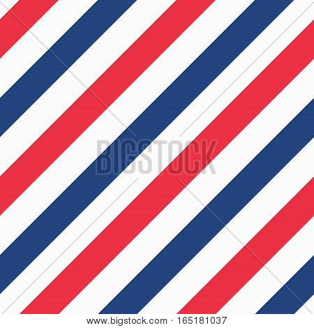 Barber shop concept pattern. Vector red, white and blue diagonal lines seamless texture