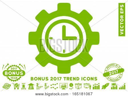 Eco Green Time Setup Gear icon with bonus 2017 trend images. Vector illustration style is flat iconic symbols white background.