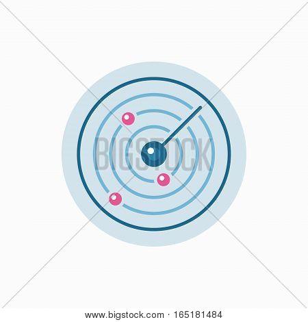 Vector flat radar icon. Colorful abstract sonar sign or symbol