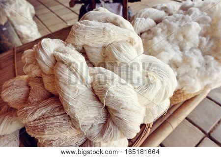 Raw Yarn Production Of  Folk Crafts In Thailand.