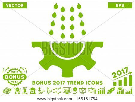 Eco Green Water Shower Service Gear pictogram with bonus 2017 year trend symbols. Vector illustration style is flat iconic symbols white background.