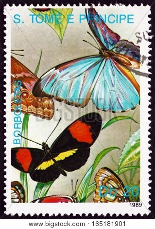 SAO TOME AND PRINCIPE - CIRCA 1989: a stamp printed in Sao Tome and Principe shows Butterflies and Blades of Grass circa 1989