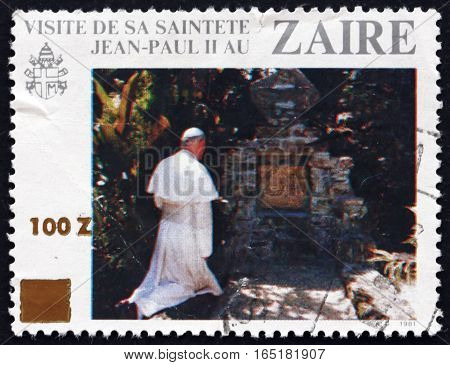 ZAIRE - CIRCA 1981: a stamp printed in the Zaire dedicated to Visit of Pope John Paul II the First Anniversary circa 1981