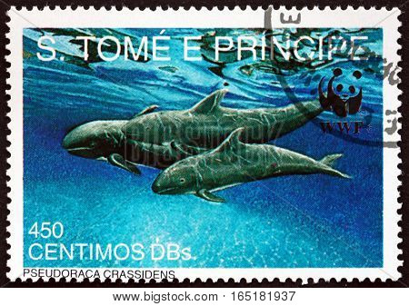 SAO TOME AND PRINIPE - CIRCA 1992: a stamp printed in Sao Tome and Principe shows False Killer Whale Pseudoraca Crassidens is a Member of the Dolphin Family circa 1992