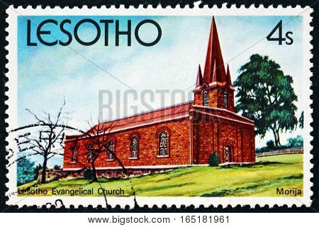 LESOTHO - CIRCA 1980: a stamp printed in the Lesotho shows Lesotho Evangelical Church Morija circa 1980