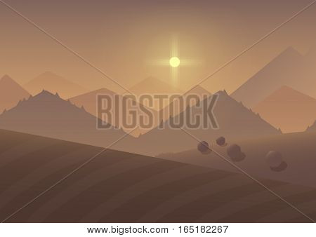 Cartoon sunrise Mountain Landscape Background with trees and fields