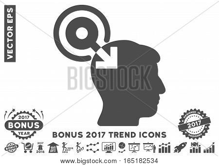 Gray Brain Interface Plug-In pictograph with bonus 2017 trend elements. Vector illustration style is flat iconic symbols white background.
