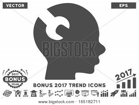 Gray Brain Wrench Tool icon with bonus 2017 year trend images. Vector illustration style is flat iconic symbols white background.