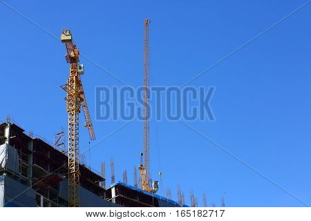 Machinery Crane In Construction Site Building Industry