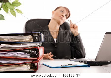 Business woman talking on telephone. Business concept
