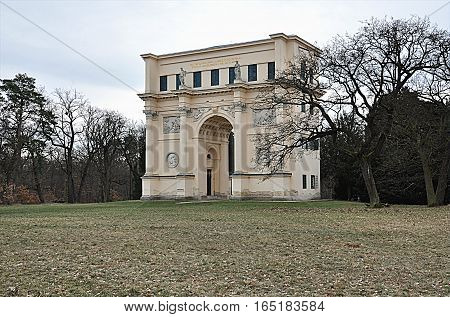 old triumphal arch, park Valtice, Moravia, Czech Republic, Europe