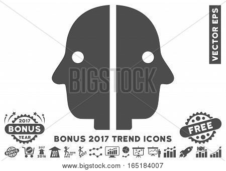 Gray Dual Face icon with bonus 2017 year trend design elements. Vector illustration style is flat iconic symbols white background.