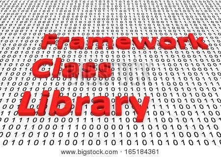 framework class library in the form of binary code, 3D illustration