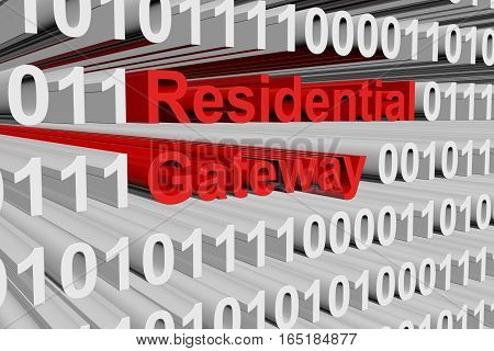 Residential gateway in the form of binary code, 3D illustration
