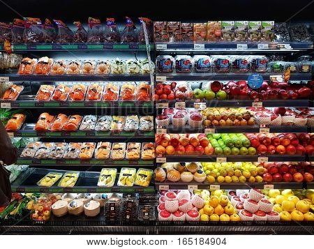 BANGKOK THAILAND - NOVEMBER 30 : fresh organic vegetables and fruits for sale on stand or shelf in Tops Supermarket on November 30 2016 in BANGKOK Thailand.