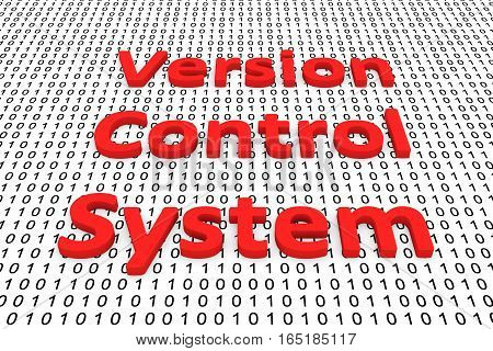 version control system in the form of binary code, 3D illustration