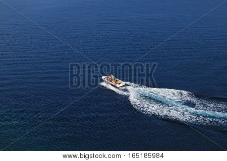 Speed Boat Aerial View On Blue Sea