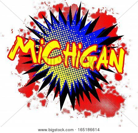 A comic cartoon style Michigan exclamation explosion over a white background