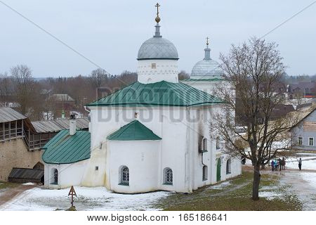 St. Nicholas Cathedral in Izborsky fortress close up in the gloomy February afternoon. Izborsk, Russia