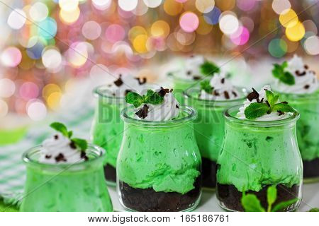 Mint Kiwifruit Cheese Mousse Topped With Whipped Cream