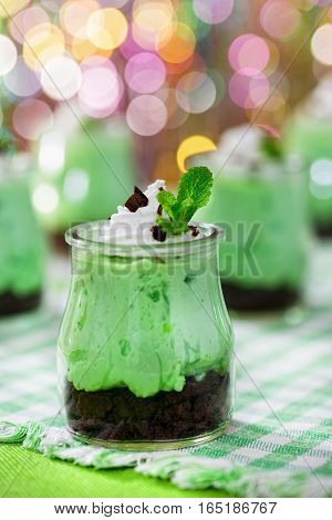 Kiwifruit Cheesecake Mousse Dessert Topped With Whipped Cream