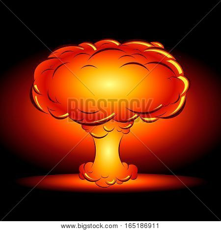 vector illustration of an explosion of a nuclear bomb in the style of a comic book on a dark background
