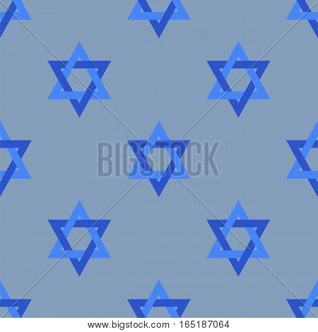 Stars of David Isolated on Blue Background. Seamless Pattern