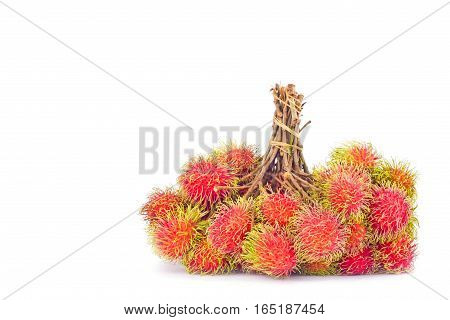 bunches of rambutan sweet delicious on white background healthy rambutan tropical fruit food isolated