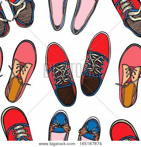 Sneakers. Seamless pattern with Sport shoes. Hand Drawn vector background.