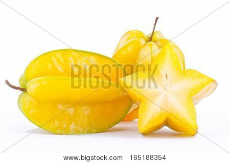 star fruit carambola or star apple ( starfruit ) on white background healthy star fruit food isolated