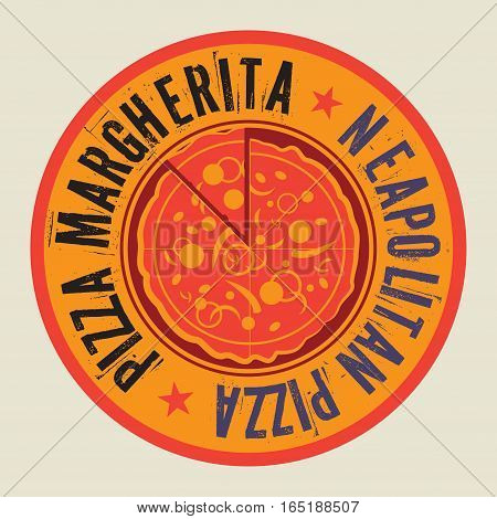 Vintage Pizza stamp or tag with text Neapolitan Pizza vector illustration
