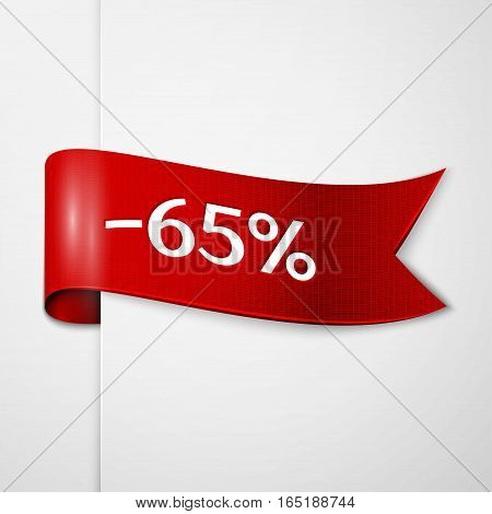 Red ribbon with inscription 65 percent discounts on grey background. Vector illustration.
