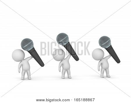 Three 3D characters holding up large microphones. Isolated on white background.