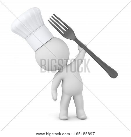3D character wearing a chefs hat and holding up a large fork. Isolated on white background.
