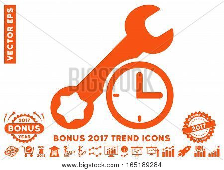 Orange Service Time pictogram with bonus 2017 year trend pictures. Vector illustration style is flat iconic symbols white background.