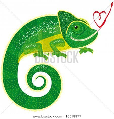 Vector chameleon with heart.